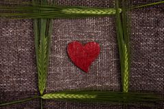 Abstract hearts and ears of corn Royalty Free Stock Photo