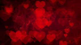 Abstract Hearts on red background stock video