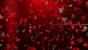 Abstract Hearts on red ECG line stock footage