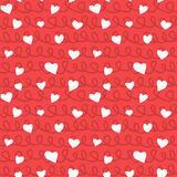 Abstract Hearts and Ropes Seamless Pattern Doodle Texture. Abstract doodle hearts with ropes and knots seamless pattern texture. Various size hand drawn white Royalty Free Stock Images