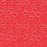 Abstract Hearts Seamless Pattern Doodle Texture. Abstract doodle hearts seamless pattern texture. Various size hand drawn white hearts on red background Stock Photography