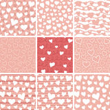 Abstract Hearts Seamless Patterns Set. Set of abstract doodle hearts seamless pattern textures. Various hand drawn hearts on pink background. Optimized for one Stock Photos