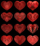 Abstract hearts. Set of 12 abstract hearts with textured  inners Stock Photo