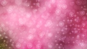 Abstract Hearts, Sparkles and Bubbles in Pink Background stock photo