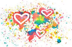 Abstract hearts and splashes of watercolor on white background Stock Photography