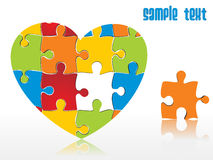 Abstract heartshape puzzle integration Royalty Free Stock Photo