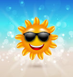Abstract Hello Summer Background with Cheerful Summer Sun in Sunglasses Stock Photo