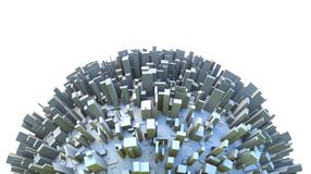 Abstract Hemisphere of 3d Planet Covered by Simple Box Skyscraper City Buildings. Abstract hemisphere of 3d sci-fi planet covered by simple box like skyscraper Royalty Free Stock Images