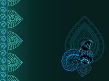 Abstract henna paisley-peacock background Royalty Free Stock Images