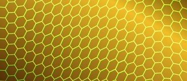 Abstract het Buigen Hexagonaal Netwerk op Gouden Achtergrond royalty-vrije illustratie