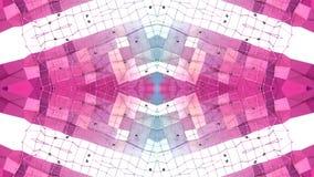 Abstract het golven 3D rood blauw veelhoekig net of netwerk van pulserende geometrische voorwerpen Gebruik als abstracte cyberspa royalty-vrije illustratie