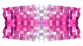 Abstract het golven 3D rood blauw veelhoekig net of netwerk van pulserende geometrische voorwerpen Gebruik als abstracte cyberspa vector illustratie