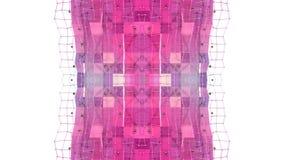 Abstract het golven 3D veelhoekig rood blauw net of netwerk van pulserende geometrische voorwerpen Gebruik als abstracte cyberspa stock illustratie