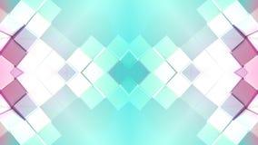 Abstract het golven 3D veelhoekig rood blauw net of netwerk van pulserende geometrische voorwerpen Gebruik als abstracte cyberspa vector illustratie