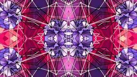 Abstract het golven 3D veelhoekig rood violet net of netwerk van pulserende geometrische voorwerpen Gebruik als abstracte cybersp vector illustratie