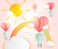 Abstract het hart roze document van het idee gloeilampen van de liefdekaart overlappingsvarkenskot Stock Illustratie