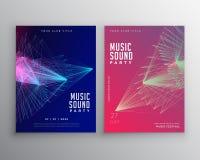 Abstract het malplaatjeontwerp van de muziekvlieger met abstract lijnennetwerk stock illustratie
