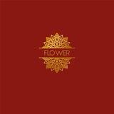 Abstract het pictogramontwerp van het bloemembleem Het elegante symbool van de lotusbloemlijn Tem Stock Foto's