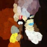 Abstract het schilderen art. Drinkende brandewijn Stock Afbeelding
