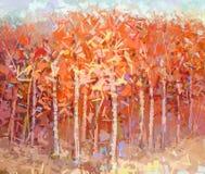 Abstract het schilderen kleurrijk de herfstbos Stock Foto