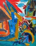 Abstract het schilderen landschap Royalty-vrije Stock Afbeeldingen