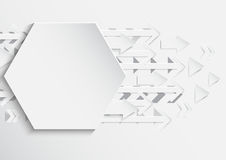 Abstract hexagon and arrows background with paper art style. For business template.Vector illustration Royalty Free Stock Image