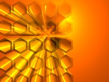 Abstract hexagon background. With orange light and shiny reflection Stock Images