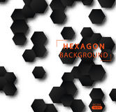 Abstract hexagon  background. Geometric black technological background. Pattern design template. Design Concept leaflets, covers, business . Modern design Stock Images