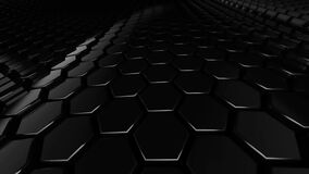 Abstract hexagon black glossy geometric surface loop: wavy motion background