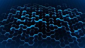 Abstract hexagon blauw als achtergrond Stock Foto