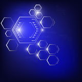 Abstract hexagon  blue background glow in dark Royalty Free Stock Photo