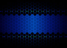 Abstract  hexagon blue ligth and black light technology Stock Photography