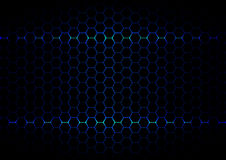 Abstract  hexagon blue ligth technology on black color backgroun Stock Photography