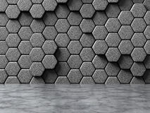 Abstract hexagon bricks concrete wall background. 3d render illustration stock illustration
