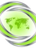 Abstract hexagon brochureontwerp met wereldkaart Stock Afbeeldingen