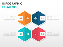 Abstract 4 hexagon business Infographics elements, presentation template flat design vector illustration for web design marketing Stock Image