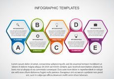 Abstract hexagon business options infographics template. Royalty Free Stock Photos