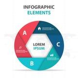 Abstract hexagon circle business Infographics elements, presentation template flat design vector illustration for web design. Marketing advertising stock illustration