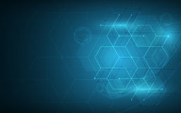 Abstract hexagon and cube  technology pattern sci fi concept innovation background Stock Photos