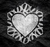 Abstract hexagon emblem. Mosaic arabic ornament. Hexagon emblem with heart icon. Retro ornamental design stock photo