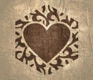 Abstract hexagon emblem. Mosaic arabic ornament. Hexagon emblem with heart icon. Retro ornamental design royalty free stock photo