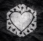 Abstract hexagon emblem. Mosaic arabic ornament. Hexagon emblem with heart icon. Retro ornamental design vector illustration