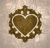 Abstract hexagon emblem. Mosaic arabic ornament. Hexagon emblem with heart icon. Retro ornamental design stock illustration