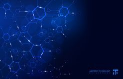 Abstract hexagon geometric background with connected line and do stock illustration