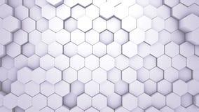 Free Abstract Hexagon Geometric Texture. White Surface Illustration. Light Hexagonal Grid Pattern Background, Randomly Wave Stock Photo - 131036090