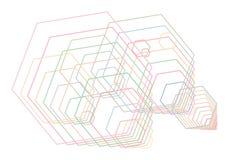 Abstract hexagon geometrisch patroon, kleurrijk & artistiek voor grafisch ontwerp, catalogus, textiel of textuurdruk & achtergron stock illustratie