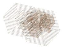 Abstract hexagon geometrisch patroon, kleurrijk & artistiek voor grafisch ontwerp, catalogus, textiel of textuurdruk & achtergron royalty-vrije illustratie