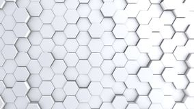 Abstract hexagon geometry background, white hexagonal pattern randomly waving, animation 3D rendering