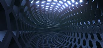 Abstract Hexagon Grid Mesh Tunnel. 3D Rendering Of Abstract Hexagon Grid Mesh Tunnel Stock Photo