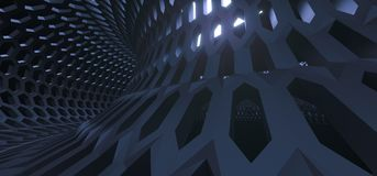 Abstract Hexagon Grid Mesh Tunnel. 3D Rendering Of Abstract Hexagon Grid Mesh Tunnel Royalty Free Stock Image